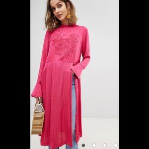 Free People New Day Embroidered Long Tunic Top